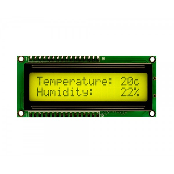 16x2 Lcd Black on Yellow